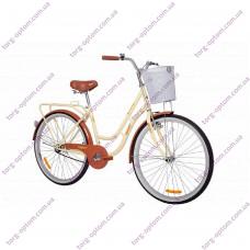 """Велосипед 26"""" Женcкий """"АИСТ"""" 1.0 АВЕНЮ С КОРЗИНОЙ (ЦВЕТ БЕЖЕВЫЙ\КОРИЧНЕВЫЙ)"""